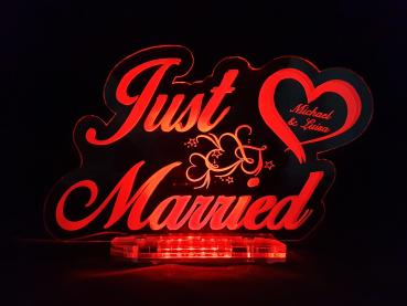 Acryl Schild Just married LED Rot