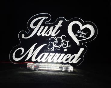 Acryl Schild Just married LED Weiß